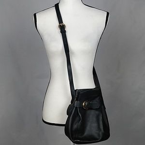 Coach vintage leather belted bucket crossbody bag
